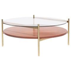 Duotone Circular Coffee Table, Brass Frame / Clear Glass / Rust Mosaic