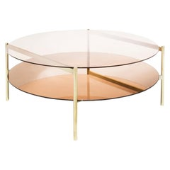 Duotone Circular Coffee Table, Brass Frame / Rose Glass / Rose Mirror