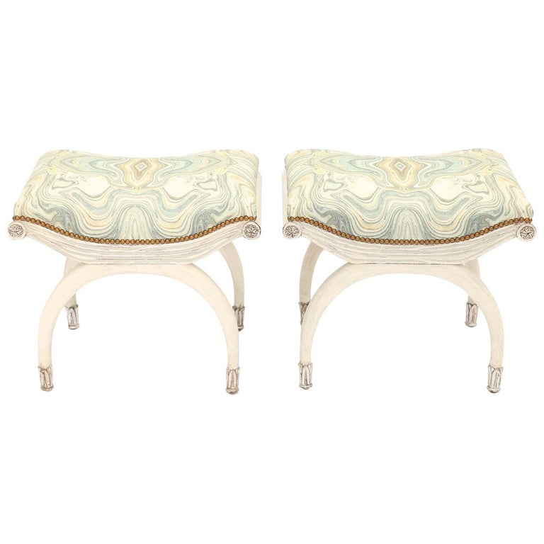 Pair of Painted and Parcel Silver Gilt Curule Stools