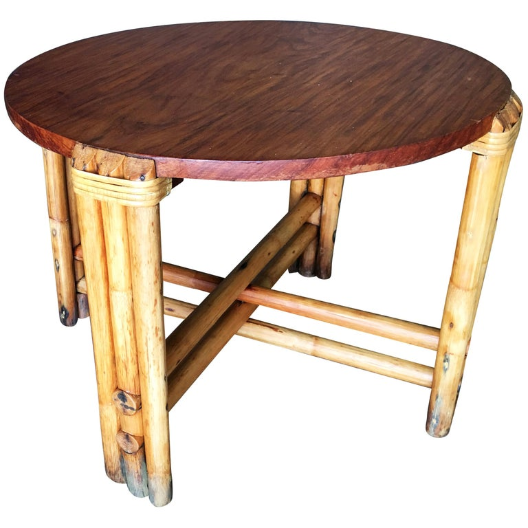 Restored Round Rustic Rattan Coffee Table with Mahogany Top