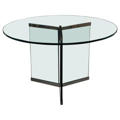 Leon Rosen Pace Chrome and Glass Round Breakfast Table