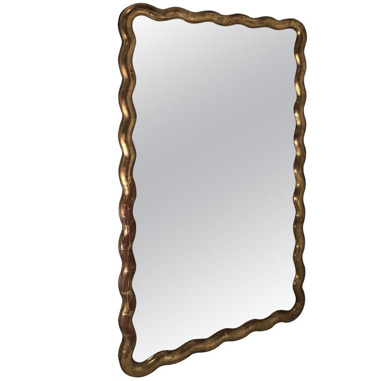 Gold Gilt Serpentine Frame Mirror, France, 19th Century
