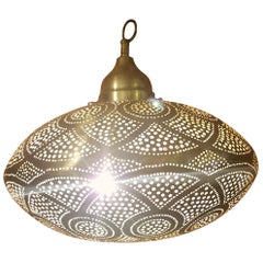 Intricate Moroccan Copper Wall or Ceiling Lamp or Lantern, Large Secoupe Shape