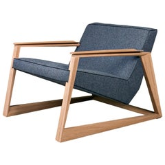 Lasta Armchair, Contemporary Lounge Chair in Soap Oak and Wool