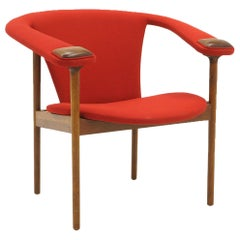 Single Arm Lounge Chair by Adrian Pearsall, Expertly Restored, Red Knoll Fabric