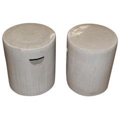 Pair of Round Glazed Terracotta Stools, China, Contemporary