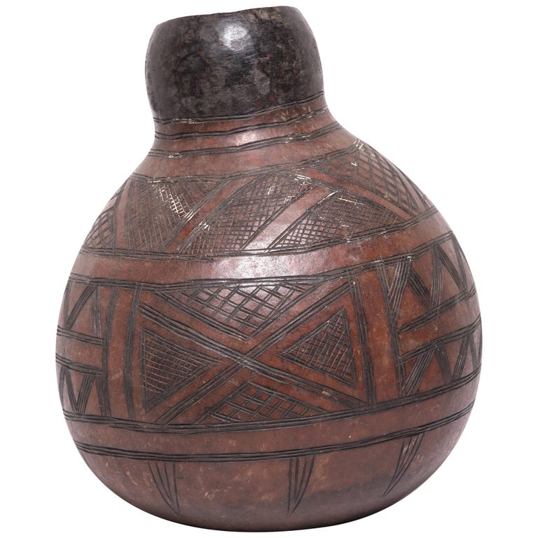 Early 20th Century Ivorian Nupe Incised Gourd Drinking Vessel