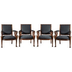 Fine Set of Four Empire Period Mahogany Fauteuils