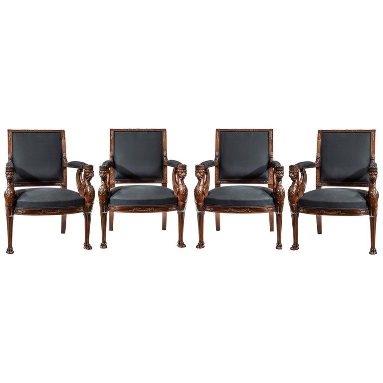Fine Set of Four Empire Period Mahogany Fauteuils