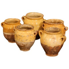 """Five Small 19th Century French Yellow Glazed """"Confit Pots"""" from the Perigord"""