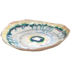 Extra Large Porcelain Prism Platter by Minh Singer with 22-Karat Gold Luster