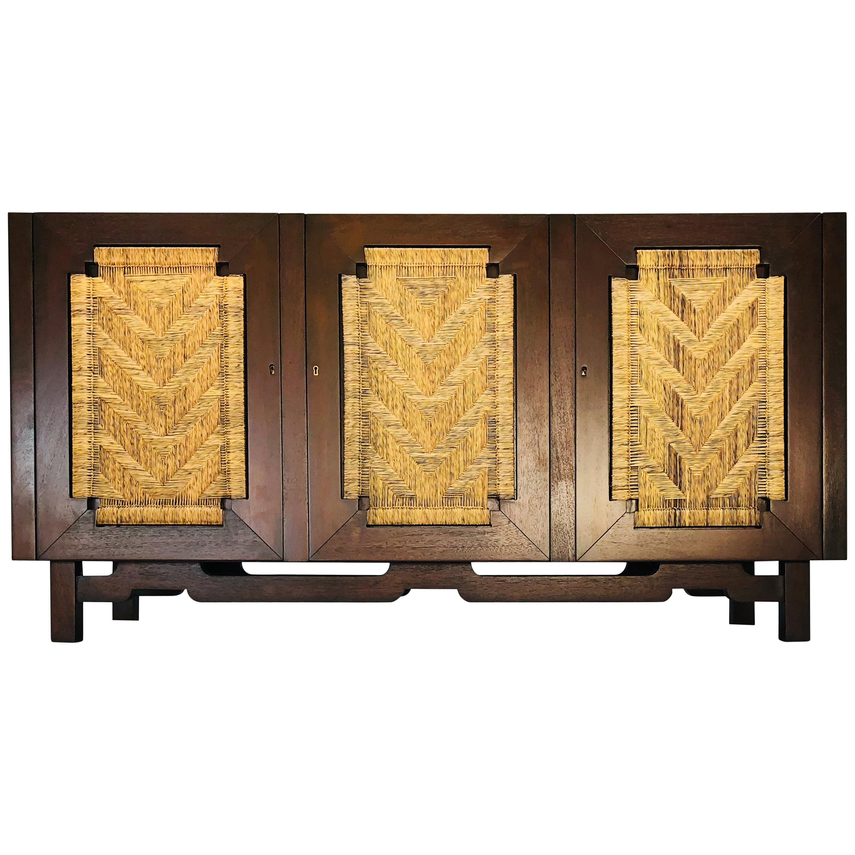Edmond Spence Mahogany Sideboard Woven Sea Grass Faced Doors Industrial Mueblera  sc 1 st  1stDibs & Edmund Spence Mahogany Side Board Woven Sea Grass Faced Doors at 1stdibs