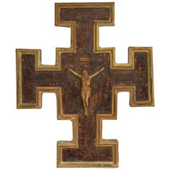 Wood and Painted Gilt Crucifix Wall Plaque Found in Italy