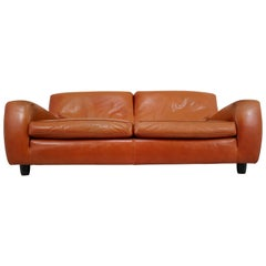 1980s Italian Molinari Cognac Color 'Bull' Leather Sofa Model 'Fatboy'