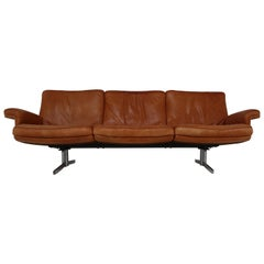 De Sede Three-Seat Sofa in Soft Ailine Cognac Leather, Model DS 35