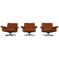 De Sede Swivel Lounge Armchair in Soft Cognac Aniline Leather, Model DS 35