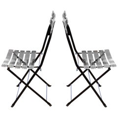 Italian Plexiglas Bistro Chairs, Pair of Two, 2000s