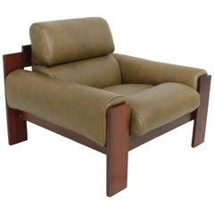 Brazilian Style Rosewood and Olive Green Leather Lounge Chair