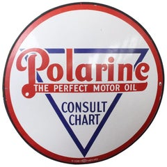 "1930s Polarine Motor Oil ""Consult Chart"" Porcelain Sign"