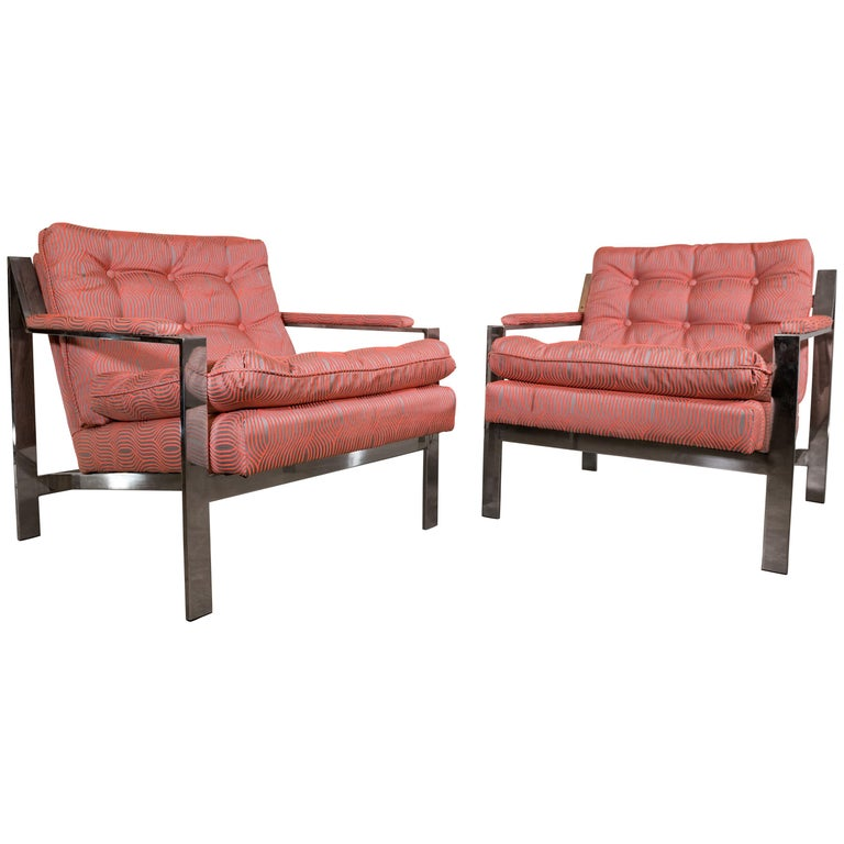 Pair of Chrome Lounge Chairs by Cy Mann 1970 Recently Reupholstered