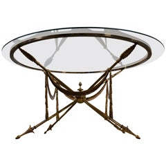 Neoclassical Brass Jansen Style Gueridon Coffee Table on Arrow Legs