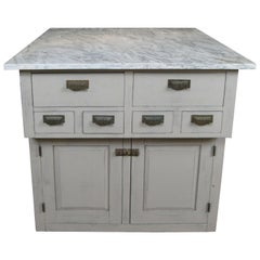Vintage Oak and Marble Double Sided Kitchen Storage Island