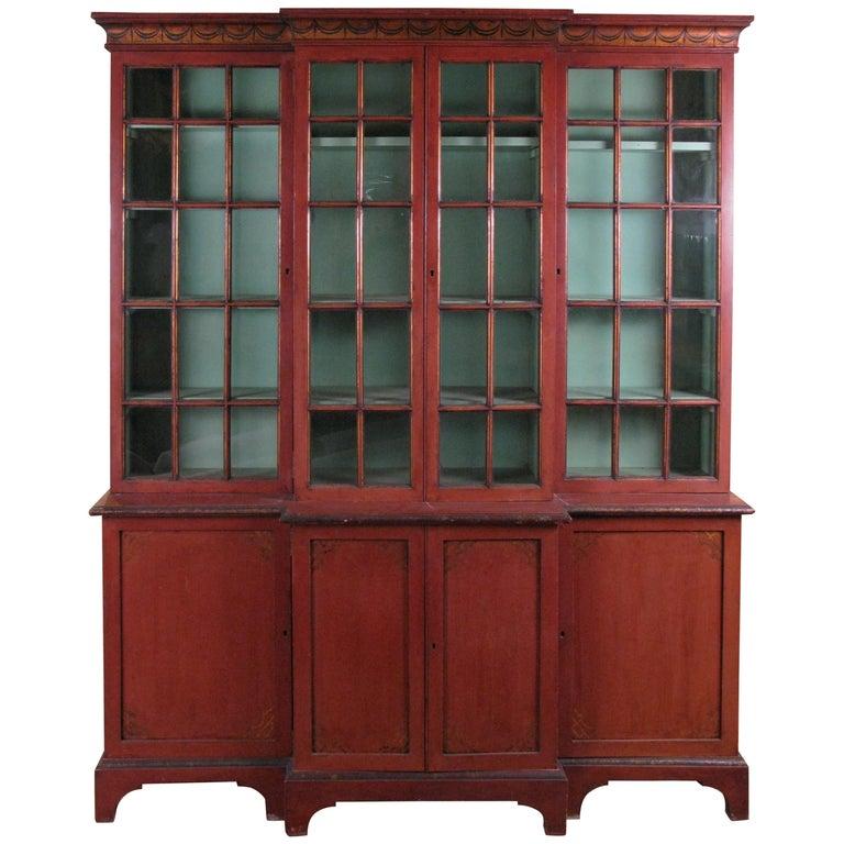 Antique Chinoiserie Pompeii Red Glass Door Bookcase For Sale - Antique Chinoiserie Pompeii Red Glass Door Bookcase At 1stdibs