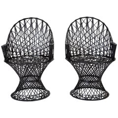 Pair Spun Fiberglass Patio Captain Chairs by Woodard Furniture
