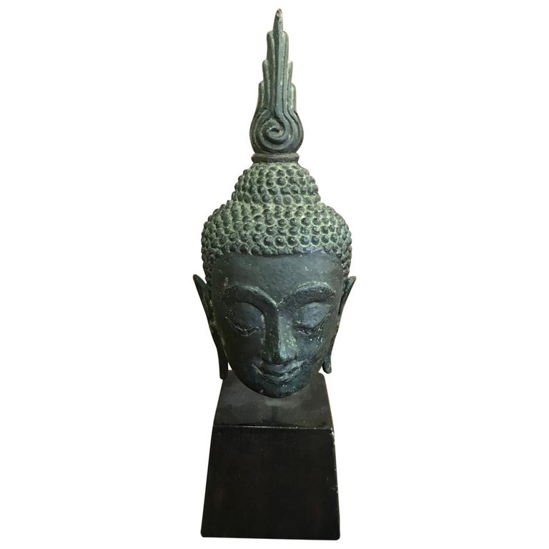 Bronze, Lacquer and Gilt Thai Buddha Head on Wooden Stand