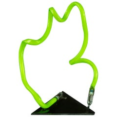 Lime Green Neon Tabletop Light Sculpture Modern Contemporary Abstract Resin Base