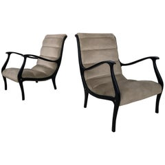 Pair of Lounge Chairs in Velvet by Ezio Longhi for Elam, Italy, 1950s