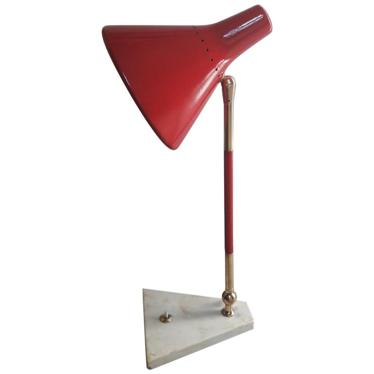 Stilux Mid-Century Modern Red and Brass Italian Table Lamp, 1950s