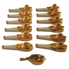 Art Deco ROBJ Set of 12 Duck Knife Rests and a Salt