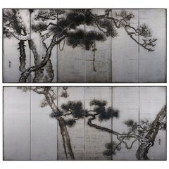 Ink Pine Trees on Silver Leaf, Japanese Screen Pair, Late Meiji, circa 1910