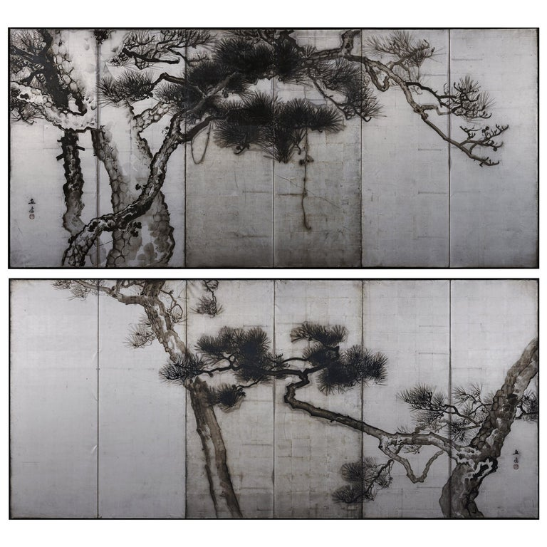 Ink Pine Trees on Silver Leaf, Japanese Screen Pair, Late Meiji, circa 1910 For Sale