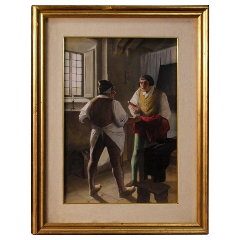 Italian Mixed-Media Painting Interior Scene with Characters from 20th Century