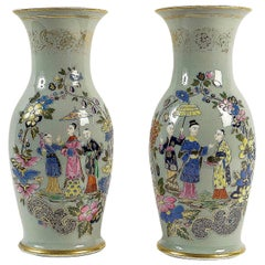 Bayeux, French 19th Century, Polychrome Celadon Family Pair of Vases, circa 1850