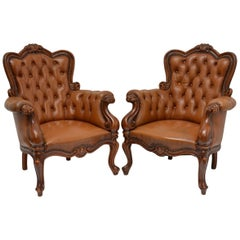 Authentic Couple of Chesterfield Style Baroque Armchairs