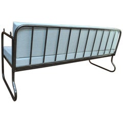 French Mesh Iron Sofa or Daybed ,Double Folding System, 1920s, Reupholstered