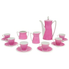 Spanish Mid-Century Modern Pink & White Porcelain Coffee Tea Set by Santa Clara