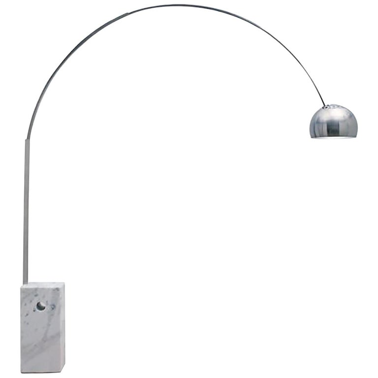 1962, Achille Castiglioni for Arco, Iconic Floor Lamp with White Marble Base For Sale
