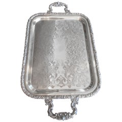 Mid-20th Century Oneida Silver Plated Engraved Details Tray, 1930s