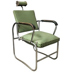 Original Barber Chair with Original Green Upholstery, Rotated Seat, circa 1950