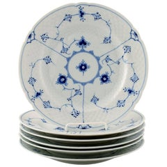 Bing & Grondahl, B&G Blue Fluted, Six Dinner Plates