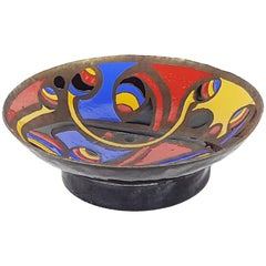 Multicolored Enameled Bronze Bowl Centerpiece Manufactured in 1972 Signed Marè