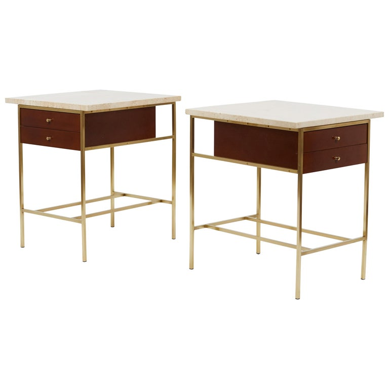 Paul McCobb Brass Base Nightstands with Travertine Tops For Sale