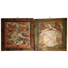 Pair of Mid-15th Century Painted Panels, Mantova, Italy