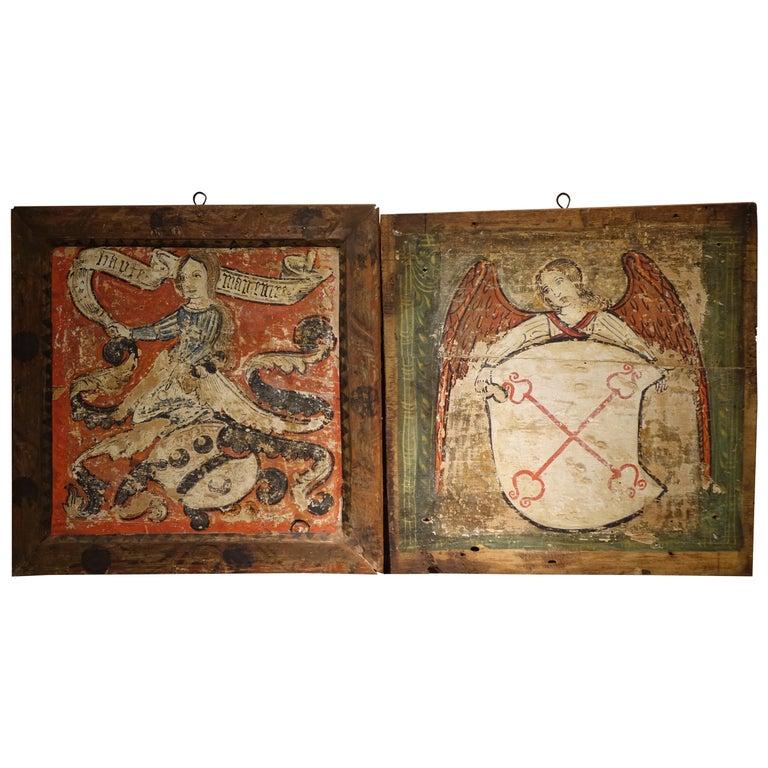 Pair of Mid-15th Century Painted Panels, Mantova, Italy
