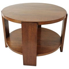 French 1920s Art Deco Two Levels Oak Round Coffee Table or Side Table