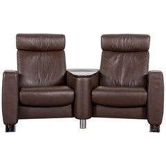 Ekornes Stressless Designer Sofa Brown Leather Two-Seat Recliner